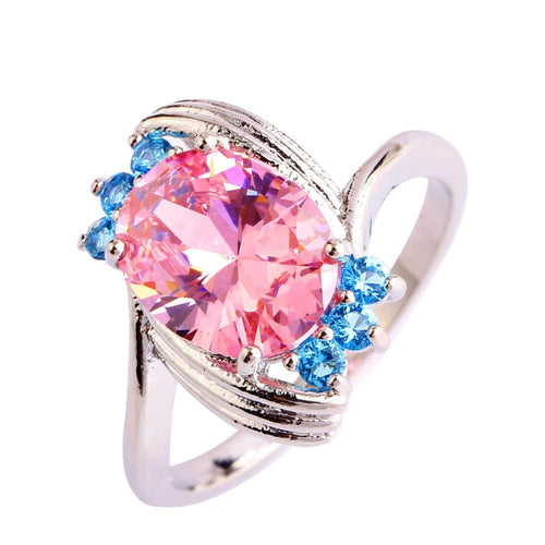 OOBDTPTO Silver Plated Pink CZ Ring