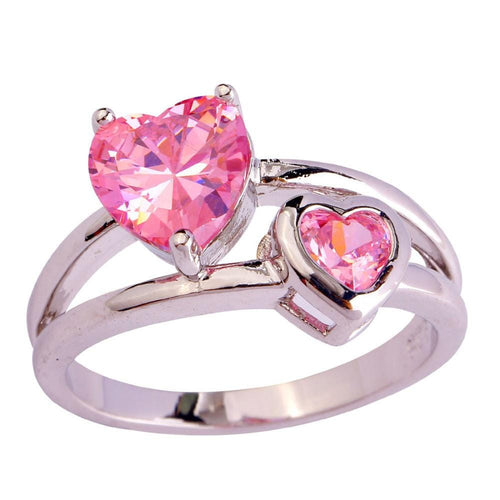 OPNT54C2 Silver Plated Pink Heart CZ Ring
