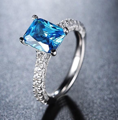 OCT6Z1TM 925 Sterling Silver Blue CZ Ring