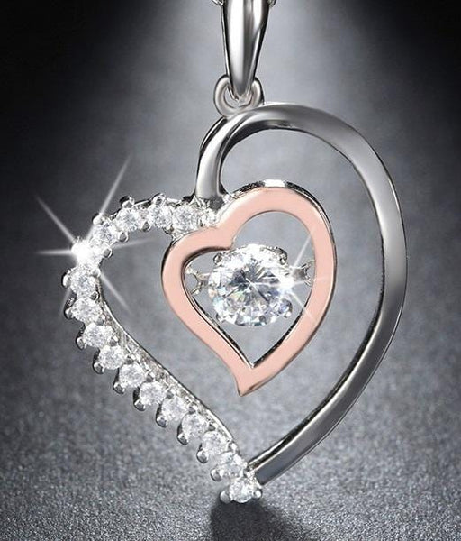 A8DK 925 Sterling Silver Heart CZ Necklace