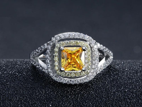 M40KHNGV 925 Sterling Silver Princess Cut Micro Paved Yellow CZ Ring