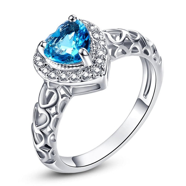 OSEYHJTE Silver Plated Blue Heart CZ Ring