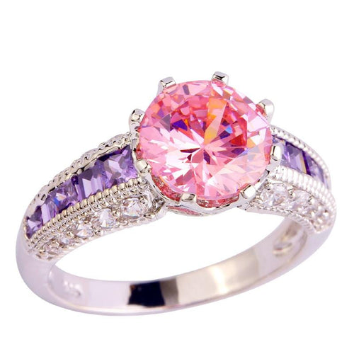 OUAG0UJ8 Silver Plated Pink CZ Ring
