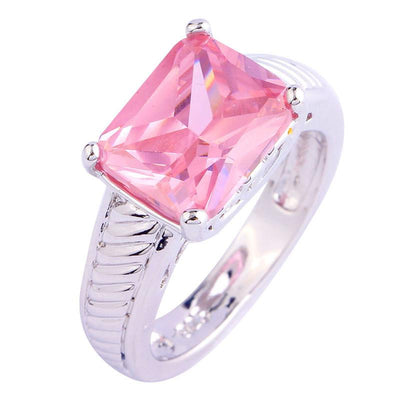 OVPF68ZZ Silver Plated Pink CZ Ring