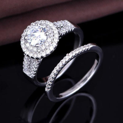 OYLE5AK8 925 Sterling Silver AAA CZ Ring Set