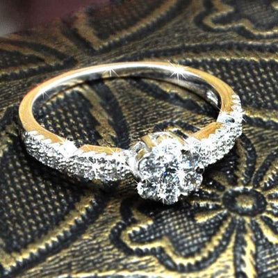 P161TFYI Yellow Gold Plated White CZ Ring