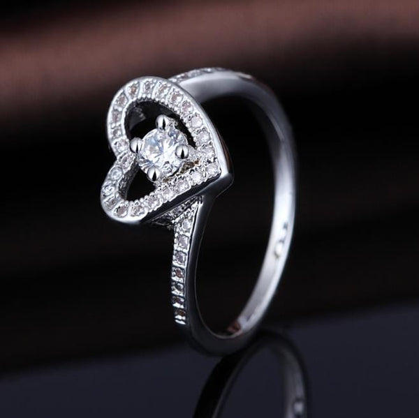 PA6A1VBF White Gold Plated Heart CZ Ring