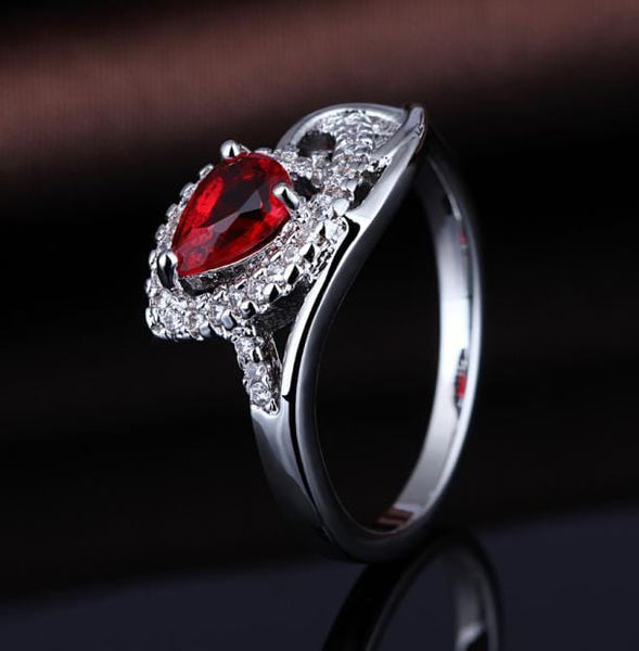 PDDR7HLP White Gold Plated Red Ruby CZ Ring