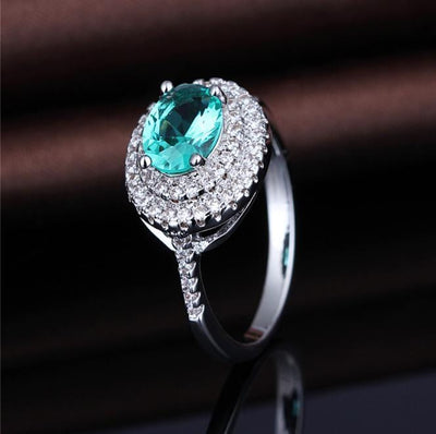 PEEHB1SY White Gold Plated Emerald CZ Ring