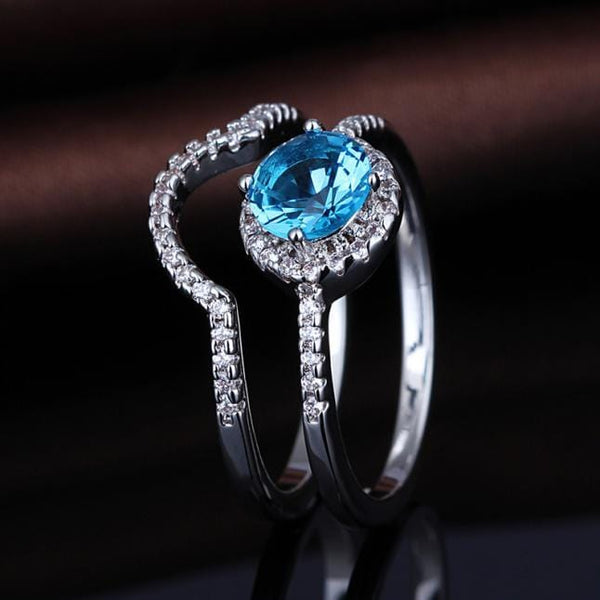 PHIYWJYV White Gold Plated Blue CZ Ring Set