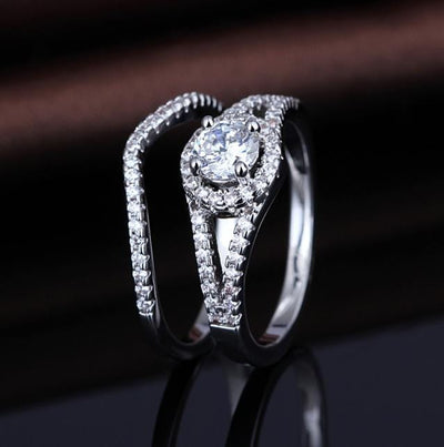 PK9UYWC1 Rose Gold Plated CZ Ring Set