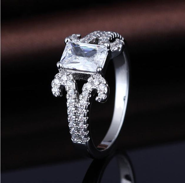 R6GS9E98 White Gold Plated CZ Ring