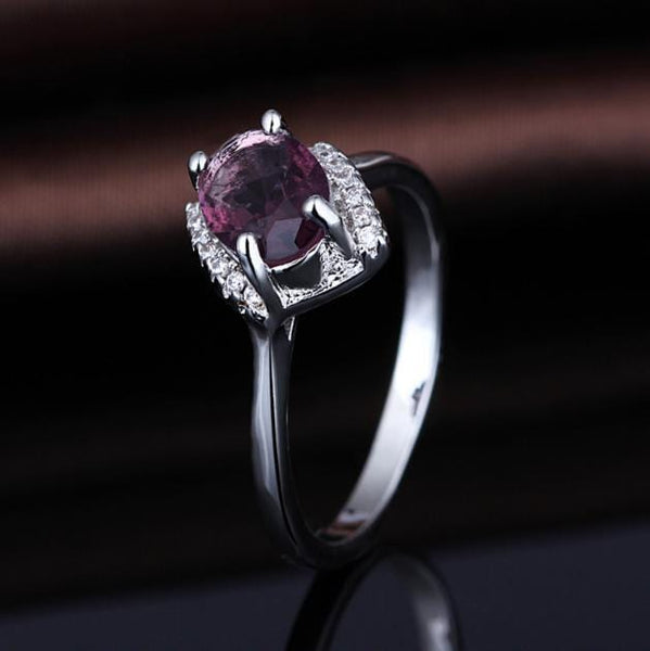 PMHJTGA5 White Gold Plated Ruby CZ Ring