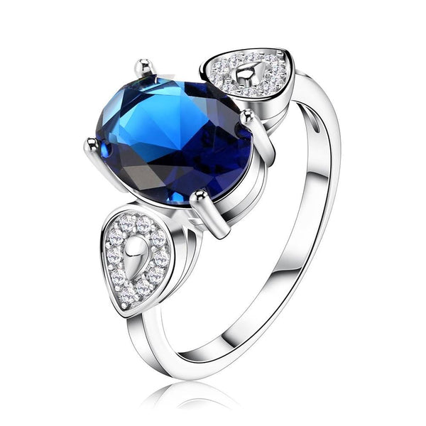 POTJ6RU1 925 Sterling Silver Blue CZ Ring
