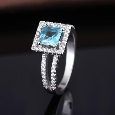 Q7N00CEL White Gold Plated Blue AAA CZ Ring