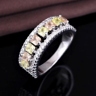 QDX377DN Yellow Gold Plated White CZ Ring
