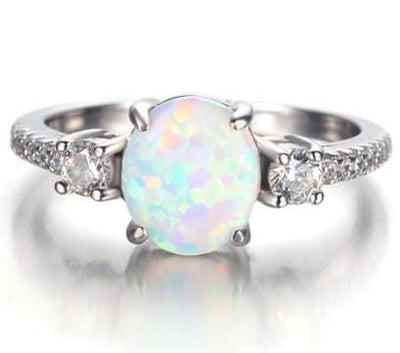 QFO6J366 925 Sterling Silver Opal and AAA CZ Ring