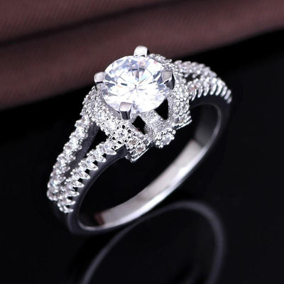 QXWSS4NV White Gold Plated AAA CZ Ring