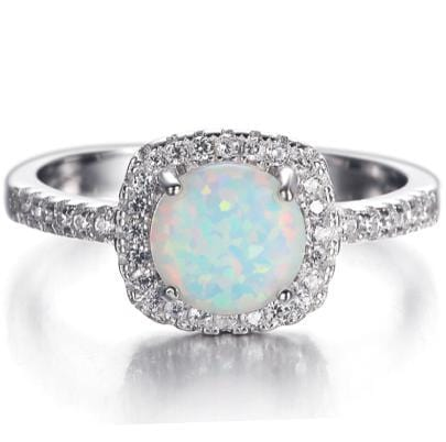 QOOV8CIJ 925 Sterling Silver Opal and AAA CZ Ring