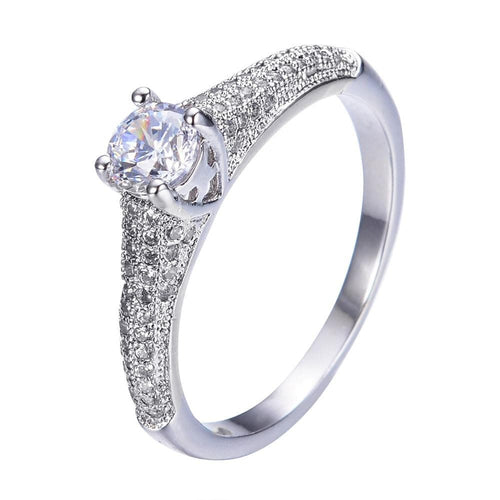 QQHGSKK3 White Gold Filled CZ Ring