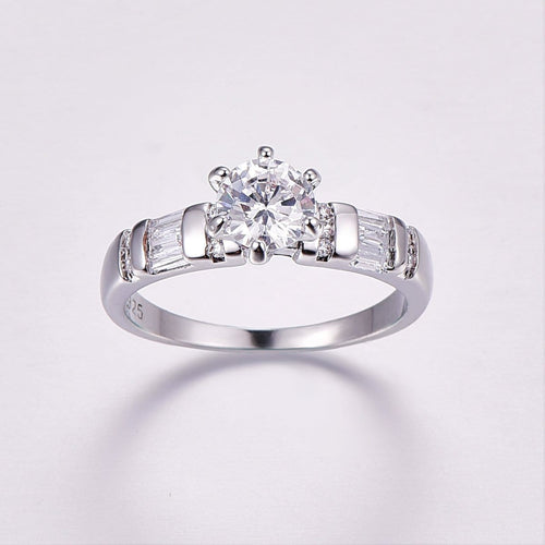 R90STSON Silver Plated CZ Ring