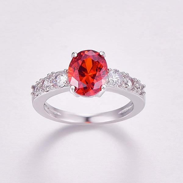 R98CQQB3 Silver Plated  Oval Red Ruby CZ Ring