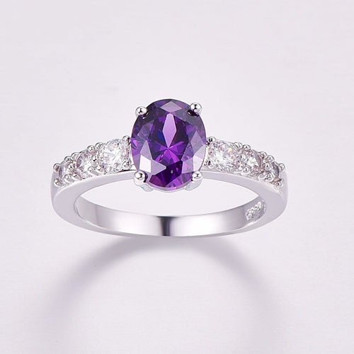 R9QT0ZBQ Silver Plated Oval Purple Amethyst CZ Ring
