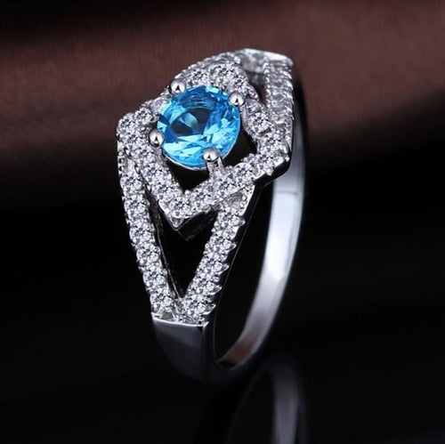 RAKPNS4X White Gold Plated Blue AAA CZ Ring