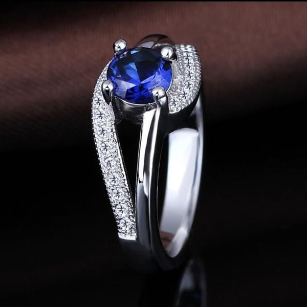 REVEBOPB White Gold Plated Blue AAA CZ Ring