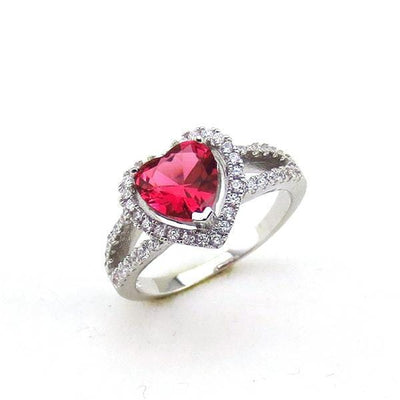 RJ8V9CW0 925 Sterling Silver Red Heart AAA CZ Ring