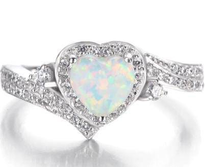 RKHQH7HO 925 Sterling Silver Heart Opal Ring