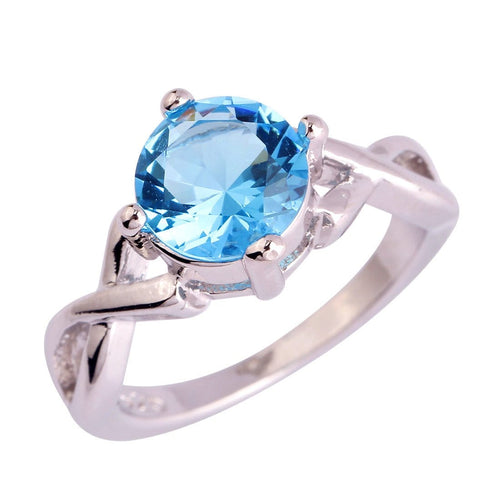 RQML12X6 18K White Gold Plated Blue CZ Ring