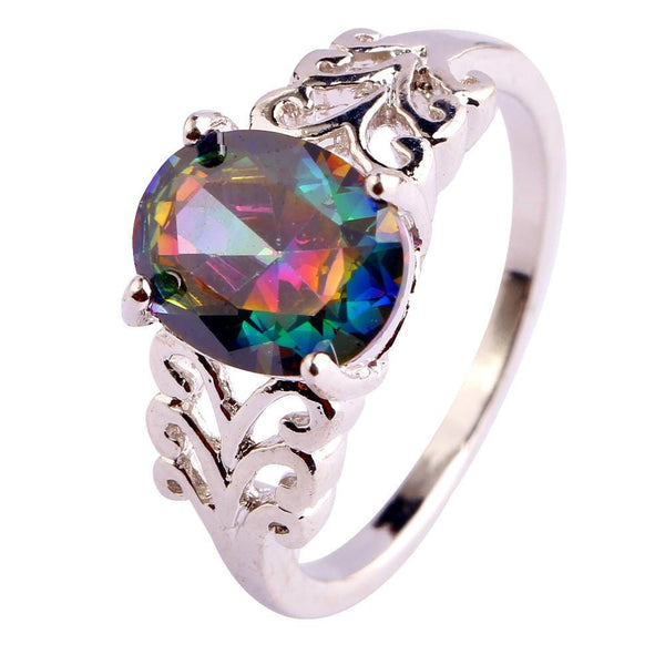 RR60DABC 18K Gold Plated Rainbow Topaz Ring
