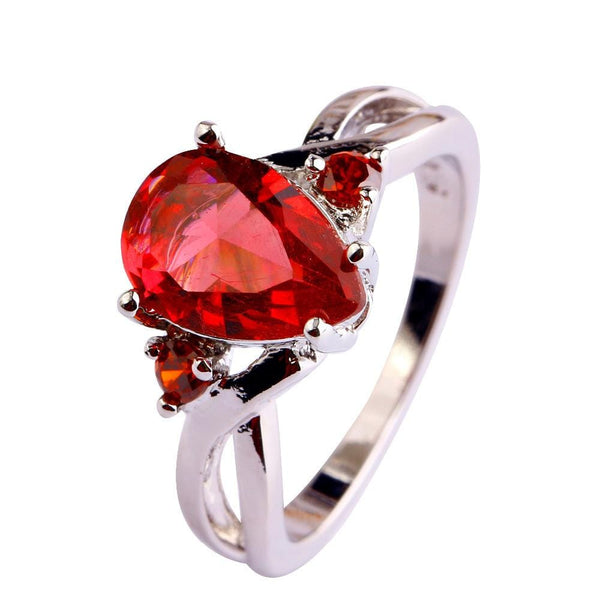 RRDS1QMQ 18K White Gold Plated Red CZ Ring