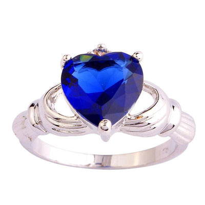 RV2V8N1Z 18K Gold White Gold Plated Blue Heart Claddagh CZ Ring