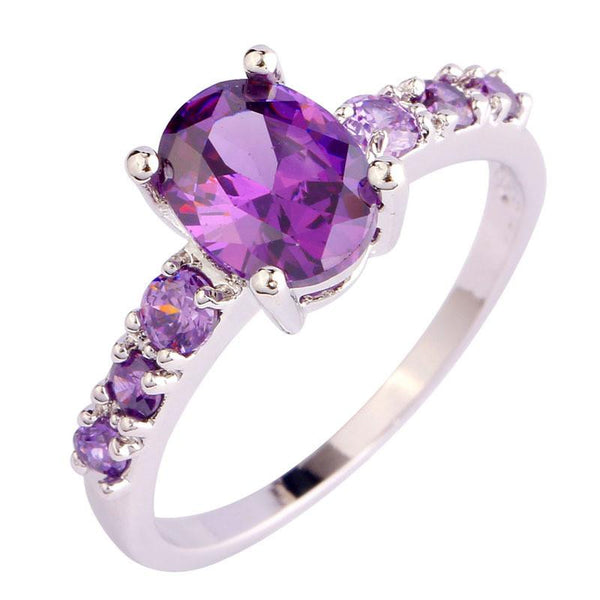 RW39A0QP Silver Plated Oval Purple Amethyst CZ Ring