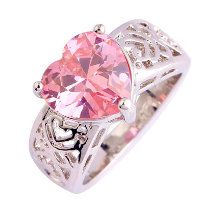 RY5945U4 18K Gold White Gold Plated Pink Heart CZ Ring