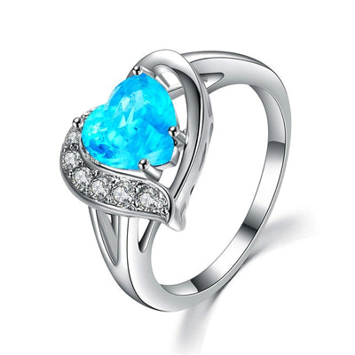 S6KJEJDM White Gold Filled Blue Heart CZ Ring