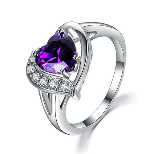 S75LRARJ White Gold Filled Purple Heart CZ Ring