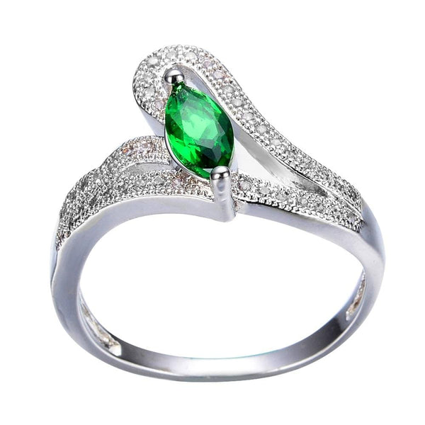 S8YJH1T0 White Gold Filled Green CZ Ring