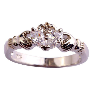 S9AP56Y6 Silver Plated Caddagh CZ Ring