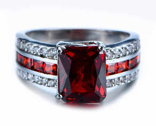 SA4UBWS3 White Gold Filled Red Ruby CZ Ring