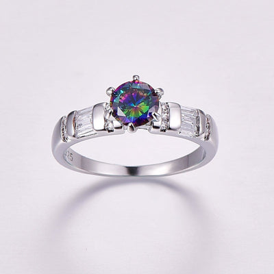 SAISGRYI Silver Plated Rainbow Topaz CZ Ring