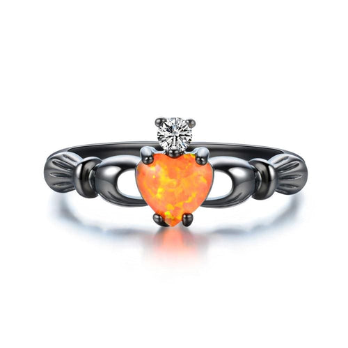 SDOFTATQ Black Gold Filled Claddagh Orange Opal CZ Ring
