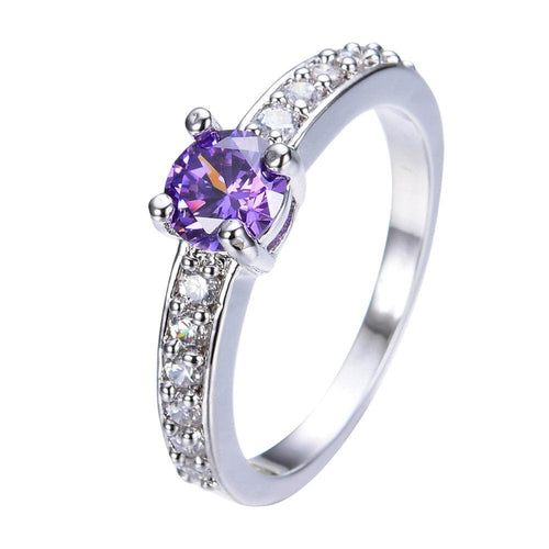 SFL588IR White Gold Filled Purple Amethyst CZ Ring