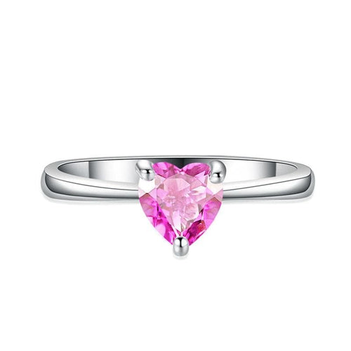 SGDSQWU7 White Gold Filled Heart CZ Ring (Random Colors)