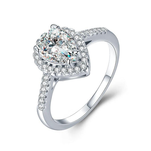 SIE7D5SM White Gold Plated Water Drop CZ Ring