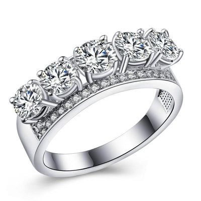 SJEXR9HZ White Gold Plated AAA CZ Ring