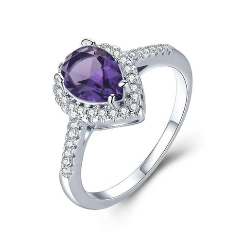 SLIA9FAK White Gold Plated Water Drop Purple AAA CZ Ring