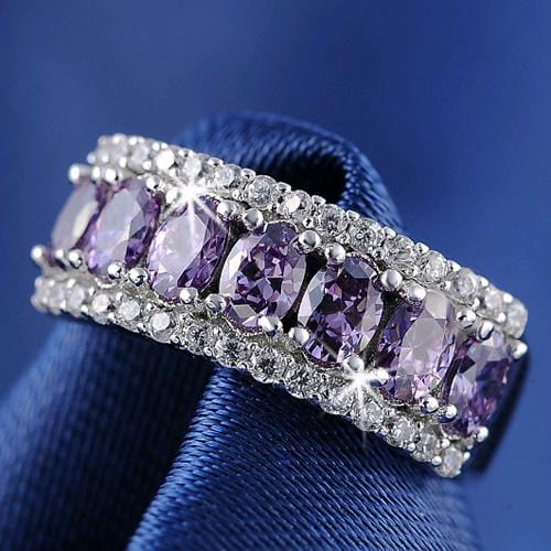 SMLPF9LF 925 Sterling Silver Purple CZ Ring